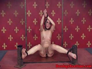Chained Bdsm Sub Tied Up And And Toyed