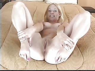 Gorgeous Blonde With Big Dark Nipples Plays With Her Pussy