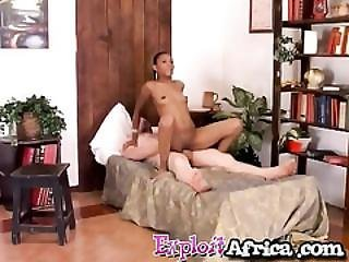 Sexy Ebony Loves Riding A White Cock In Reverse Cowgirl