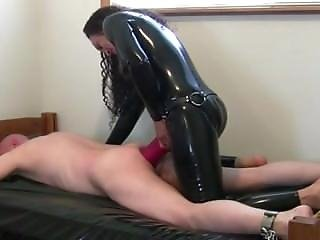 Rubber Mistress Strapon Fuck Slave In Bondage With Big Strapon