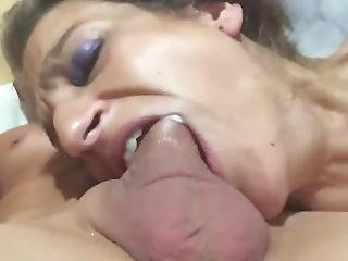Daddy Enjoys Face Fucking His Teen Whores Face