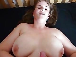 She Jerking Him Off On Her Boobs