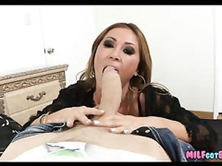 Milf Loves Sucking On His Big Pole