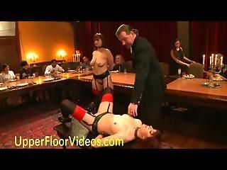 Lesbian Slaves Fucking During Brunch