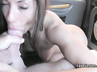 Stunning Babe Fucked In Taxi Outside
