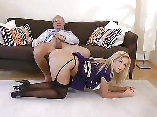 British, Cute, Doggystyle, Fucking, Old, Older Man, Stocking, Young