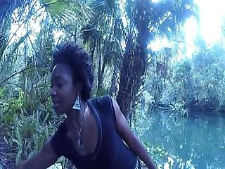 Caught Head At The River - Blowjob Deepthroat Carla Cain Ebony Afro Cum Swallow