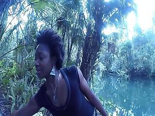 Caught Head At The River - Blowjob Deepthroat Carla Cain Ebony Afro Cum Swallow
