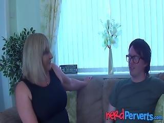 Mature British Vixen Sucks And Fucks Lucky Nerd! Alisha Rydes Is Her Name And Making Big Cocks Spray Cum Is Her Game!