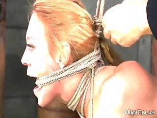 Big Tits Blond In Rope Bondage