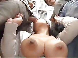 asiat, babe, store bryster, bryst, bus, japansk, voyeur