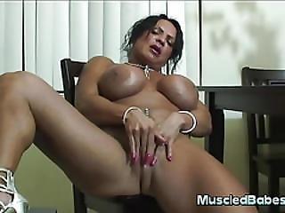 Muscled Milf Masturbates With Dildo
