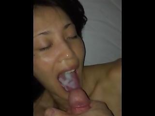 asiatique, sperme, éjaculation, boisson, japonaise, milf