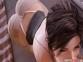 Sexy Round Ass Lara Croft With Perfect Tits Enjoying Cock Ride Outdoors In The Rain, While Other Game Heroes Enjoy Hard Sex