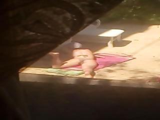 Jerking Off To A Neighbour Girl Sunbathing Her Beautiful Ass