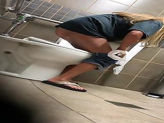 Blonde Milf Toilet Voyeur