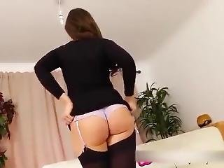 Sexy Brunette Teen In Black Stockings Pantyhose & Tight Minidress Thong !