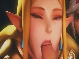 Princess Zelda Shares Cock And Cum With Friend