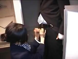 Asian Stewardess Gives Hot Handjob On Airplane