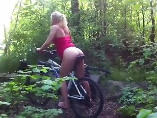 Anal Loving Blonde Takes Bike Saddle Deep In The Ass In The Forest