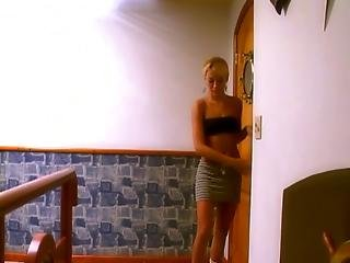 Young Slim Blond Cuties Fuck Each Other S Butts With Dildos On A Bed