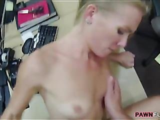 Skinny Blonde Bitch Fucked By Pawn Guy In The Backroom