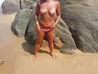 ερασιτεχνικό, μωρό, παραλία, μελαχροινή, γυμνό, δημόσια, μικρά βυζιά, Teasing