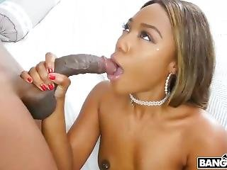 Ebony Stepmom Joins Stepdaughter And Her Boyfriend For Threesome