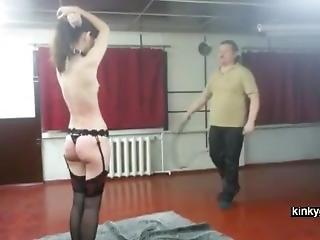 Flogging Skinny Amalia With The Whip
