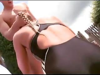 Brunette Fucked Wearing One Piece Swimsuit By The Pool