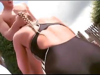 brunette, kneppe, hardcore, pool, pornostjerne, offentlig, svømmedragt
