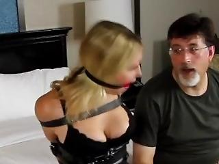Bondage Submissive Girl - Tied Up Blindfold And Gagged