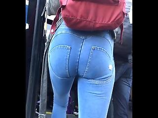 Slim Blonde In Tight Freddy Jeans Thigh Gap And Platform Hee