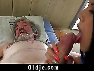 Blowjob, Brunette, Cumshot, Old, Older Man, Pain, Teen, Young