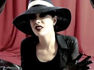 Elegant Gothic Stylish Lady Hat And Ultra Thin Soft Leather Gloves