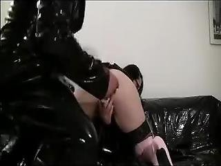 Latex Wearing Couple Anal Sex And Facial