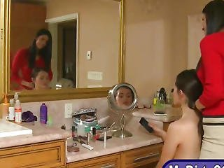 Stepmom And Teen Girl Threesome Session In The Bathroom