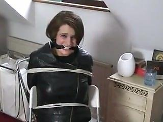 Poor Leather Girl Tied To A Chair