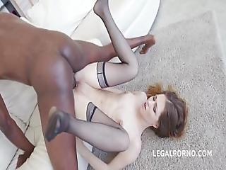Sexy Slut Ginger Fox Gets Non Stop Gapes And 100 Balls Deep Interracial Anal
