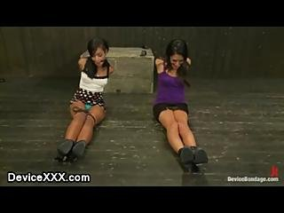 Two Babes Strapped And Gagged On The Floor