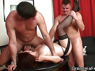 Poker Playing Mature Fucked By Studs