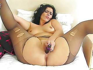 chatte, gode, nique, mature, milf, nylon, femme âgée, collants, bas collants, espagnole