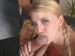 Couple Teach Young Lesbian Blonde Daughter To Enjoy Daddys Hard Cock