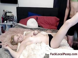 Cute Skinny Blonde Plays Video Games And Fucks Live