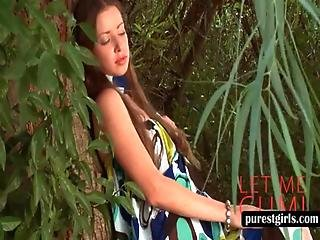 Redhead Teen Touching Herself Outdoor