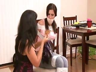 Girl Taped Up With White Duct Tape By Woman