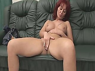 Redhead Granny Fingering Hard Hairy Pussy Lips Busted By Handicap Friend