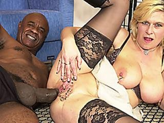 Extreme Pierced Big Natural Breast German Milf  Deep Anal Fucked By  Black Monster Cock