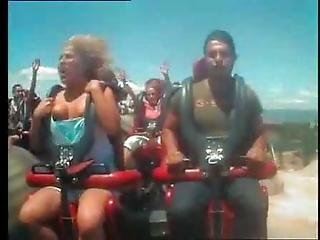 Boobs Popping Out During Rollercoaster Ride