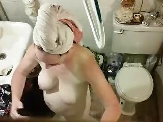 Wife Getting Dressed After A Shower
